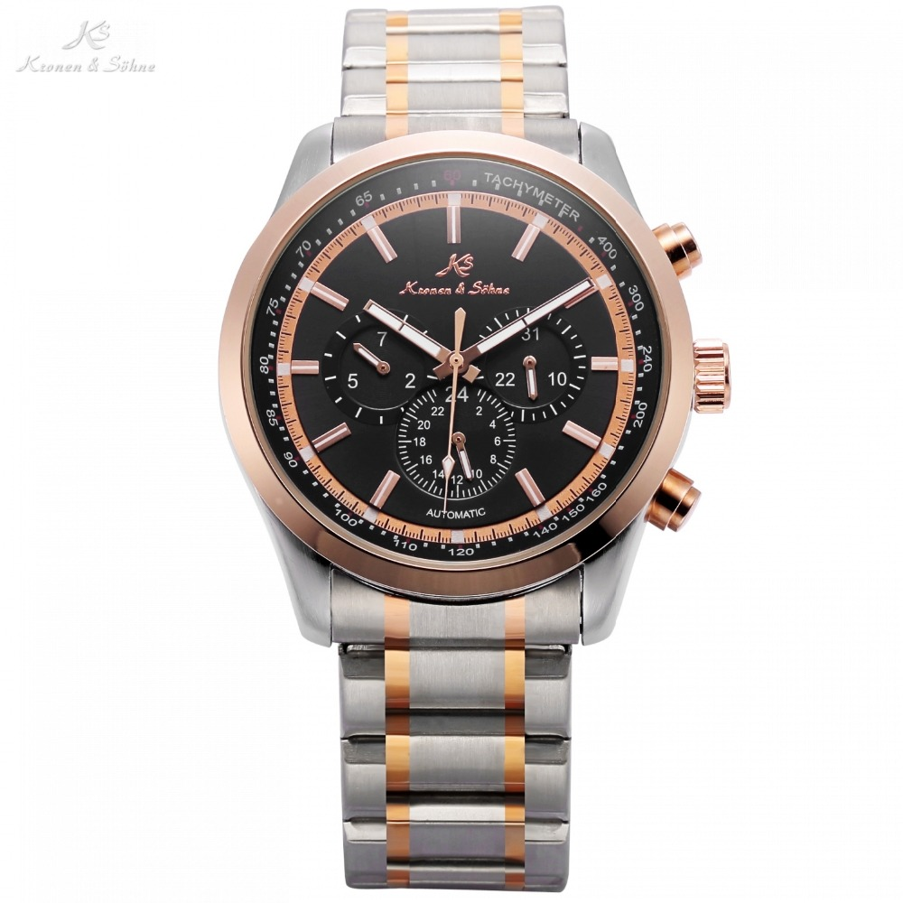 Navigator KS Series Automatic Date Day Rose Golden Case Black Dial Steel Band Mechanical Watch Mens Business Wristwatch / KS309 ks luxury automatic self wind date day 24 hours black 3 dial steel strap mechanical wrist watches mens gents timepieces ks307