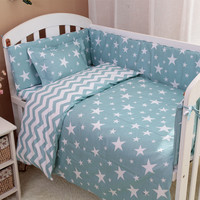 3Pcs/Set Nordic Style Cotton Baby Bedding Set Reactive Dyeing Cartoon Cloud Tree Pattern Handmade Baby Crib Bedding Set