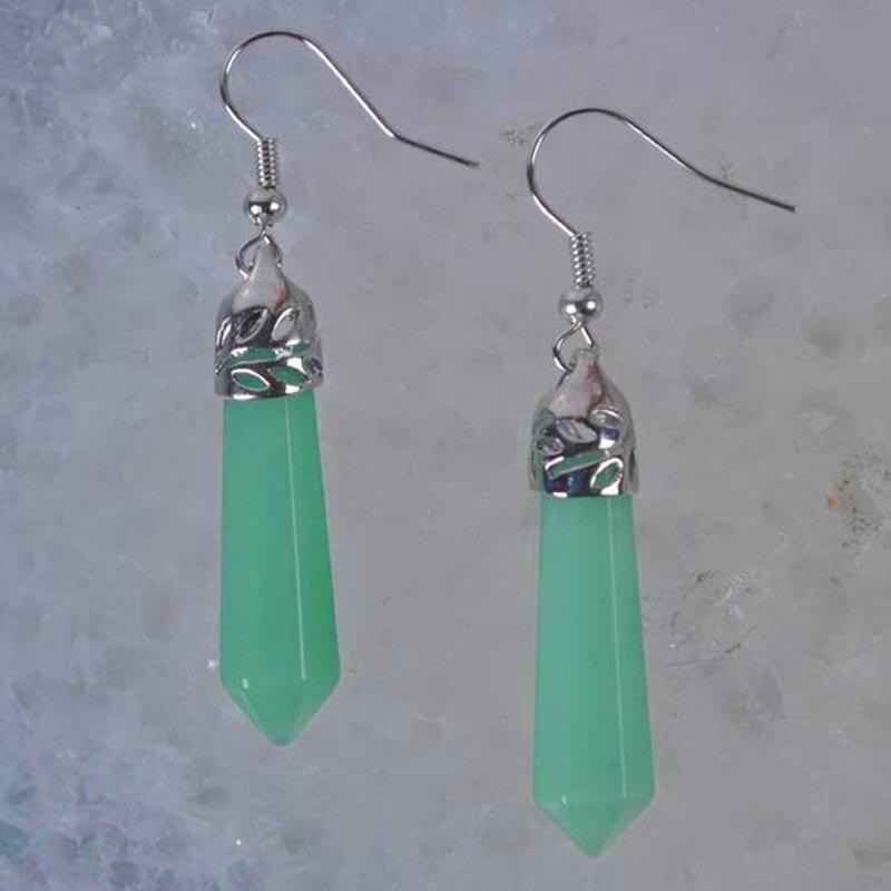 Natural Green Aventurine Beads Dangle GEM Earrings Women Jewelry T126