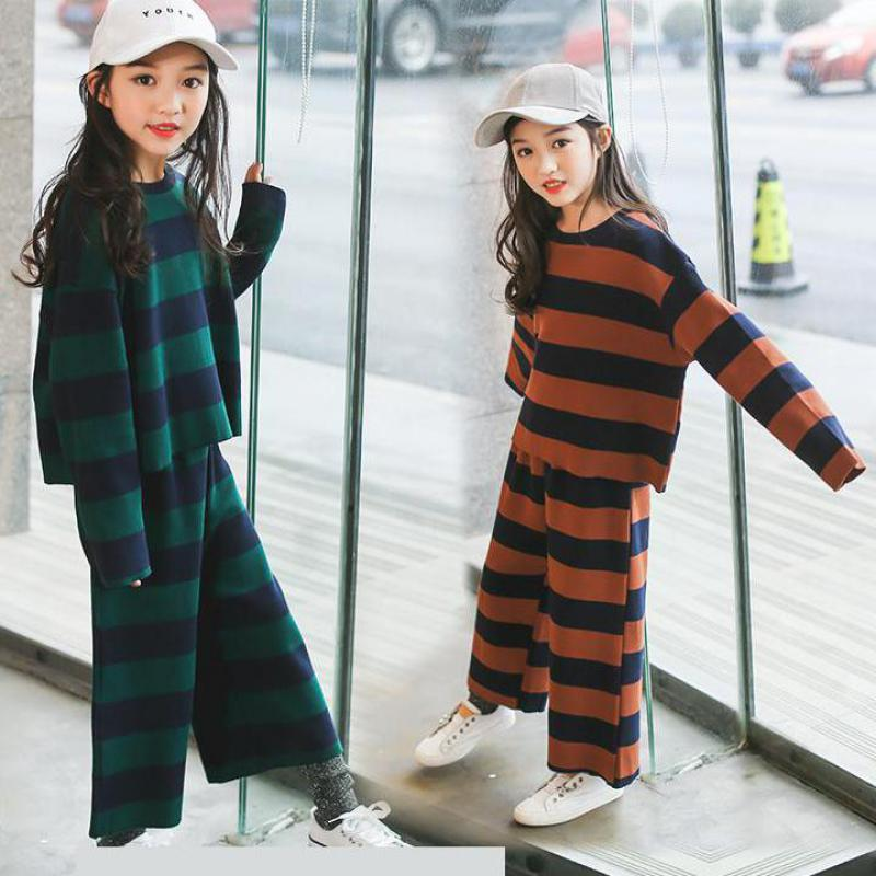 2PCS/Set Cotton Girls Clothing Set 2018 New Spring Striped Print Black White Sweatshirts + Pants Girls Clothes Children Clothing girls slogan print tee with striped pants