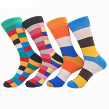 Male Brand Happy Socks Spell Color Autumn Winter Style Cotton Wedding sock Men s Knee High
