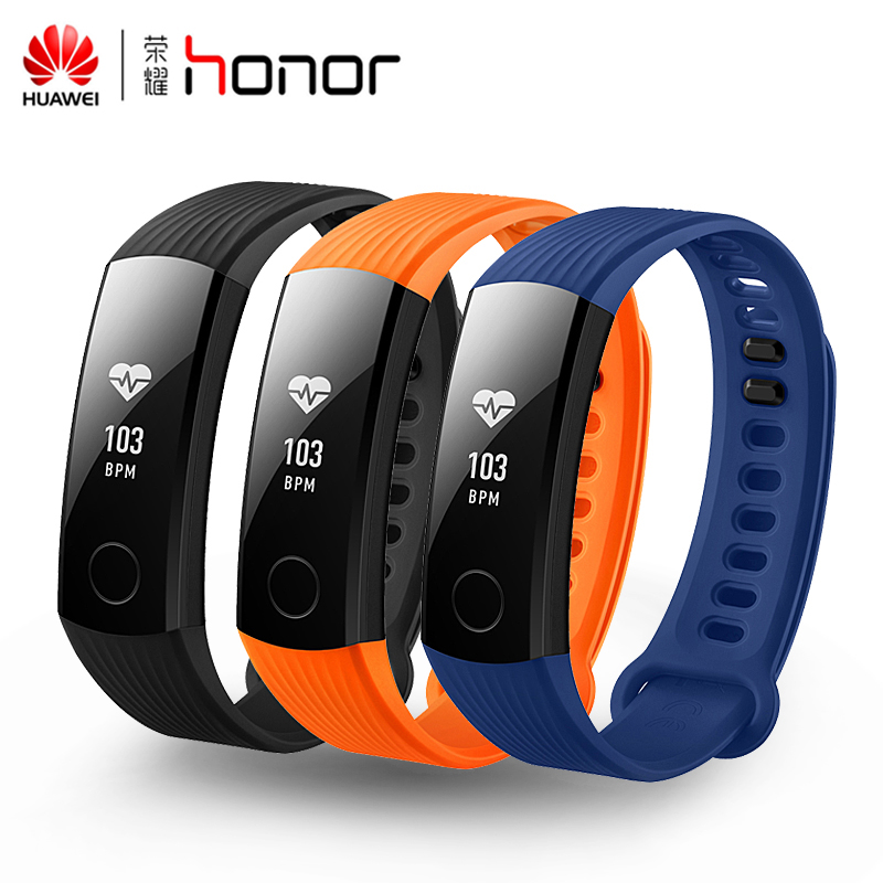 Original Huawei Honor Band 3 Smart Wristband Swimmable 5ATM 0.91 OLED Screen Touchpad Heart Rate Monitor Push Message