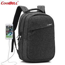 COOLBELL Backpack 15.6 Inch USB Laptop Backpack New Waterproof Backpack Men Women Young Student Backpack Outdoor Travel Bac(China)