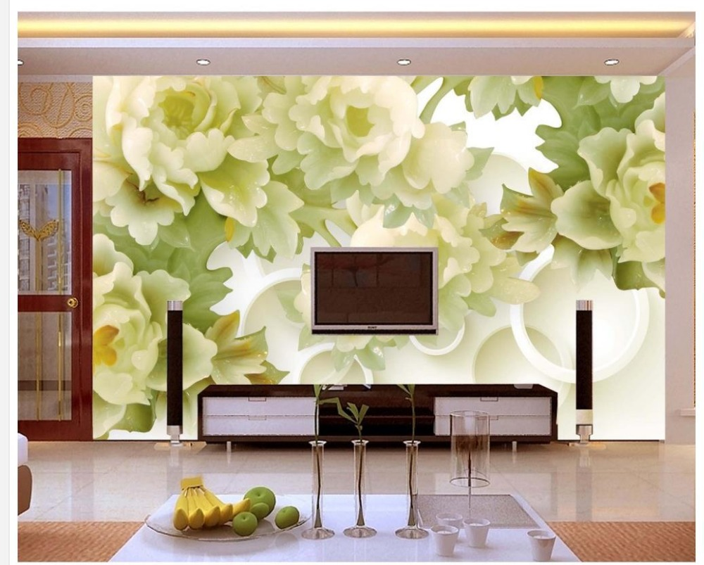 3d nature wallpapers Home Decoration Jade Peony flower TV backdrop ...