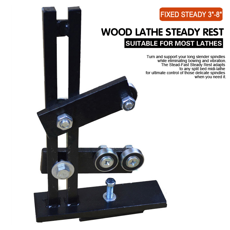 Wood Lathe Steady Rest Woodworking Lathe Frame Center Stable Support Parts DIY Tool Clamp