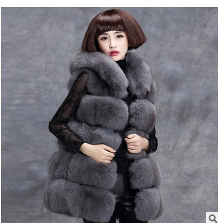 S/6Xl Women Long Faux Fox Fur Vests Female Korean Stylish Winter And Autumn Casual Hooded Manmade Fur Waistcoats Large Size K87