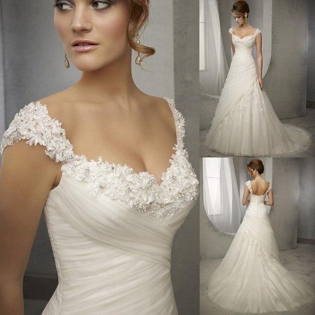 Vestidos de Noivas Latest Design Vintage Wedding Dress Lace Cap ...