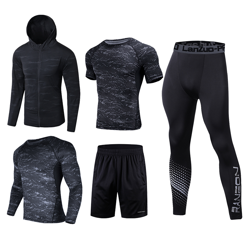 Image 4 - Quick Dry Running Set Men Soccer Basketball Tights Clothes Compression 5 pcs/set Sports Suit Gym Jogging Training Set Sportswear-in Running Sets from Sports & Entertainment on AliExpress