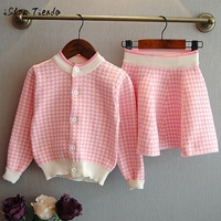 Toddler Kids Baby Girls Outfit Clothes Plaid Knitted Sweater Coat Tops Skirt Set Warm Dress Cardigan