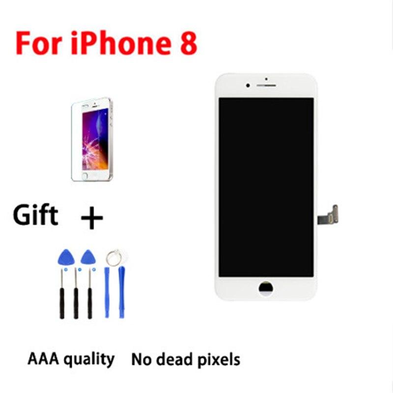 Panel blanco AAA para iPhone 8 LCD pantalla digitalizador montaje teléfono reemplazo para iPhone 8 pantalla LCD con 2 regalos