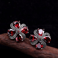 925 Sterling Silver Natural Stone Ethnic Garnet Earcuff For Women Plum Blossom Retro Vintage Fine Jewelry Bijoux