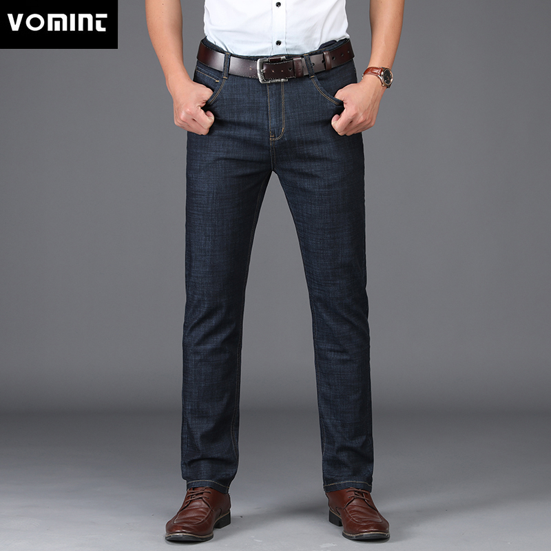 VOMINT New Men's   Jeans   Business style design Elastic Smart Casual Regular Straight Long   Jeans   MS1802