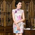 Chinese style silk Cheongsam lotus chi-pao Delicate Party Dress Chinese dress Mini Evening Dress vestidos Size:S M L XL XXL