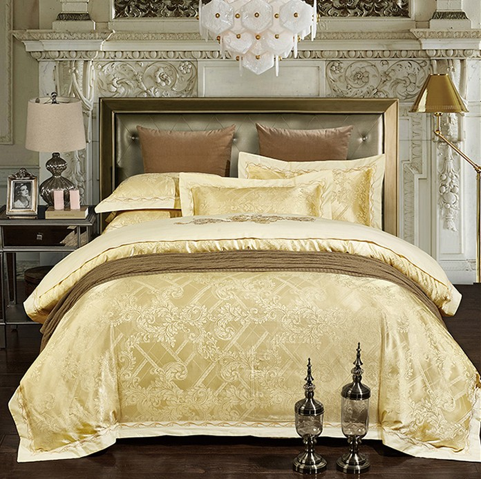 Luxury Bedding Sets Jacquard Bedspreads Gold Yellow Duvet