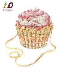 Designer Marke Luxus Kristall Abendtasche Mode Cupcake Diamant Kupplung Soiree Geldbörse Frauen Hochzeit Braut Kuchen Handtaschen SC515