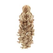 """18 """"synthetische Paardenstaart Pruiken Klauw Clip Op Hair Extensions Haarstukje Lange Diepe Golf Clip In Paardenstaart Hair Extension Heat slip"""