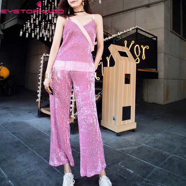 Women sexy V neck strap bling sequined vest top + long casual pant suit two pieces set summer suit outfit E6087
