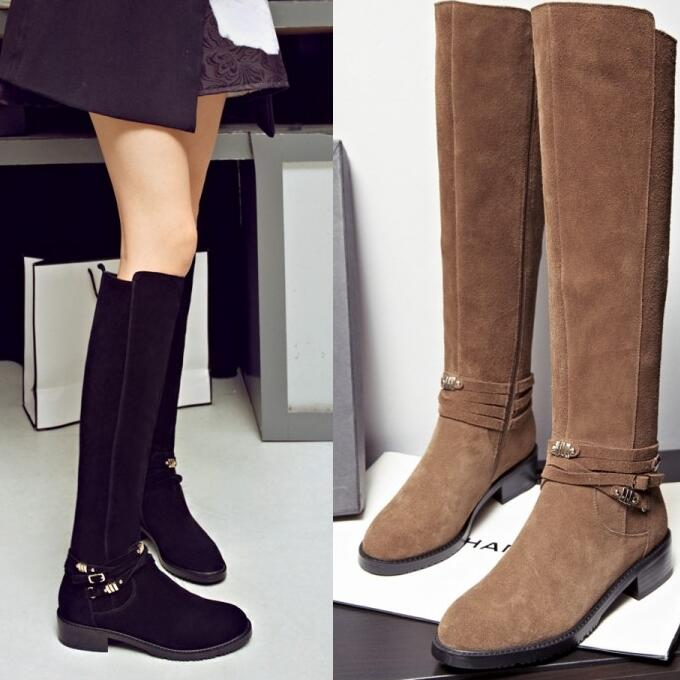 Women Autumn Winter Flats Full Grain Leather Buckle Round Toe Fashion Knee High Boots Plus Size 34-41 SXQ1012