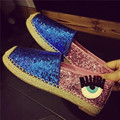 New Brand Casual Women Flats Slip on Oxford woman Loafers Eyes Pattern Sequins Patchwork Canvas Shoes Gold Silver Shoes