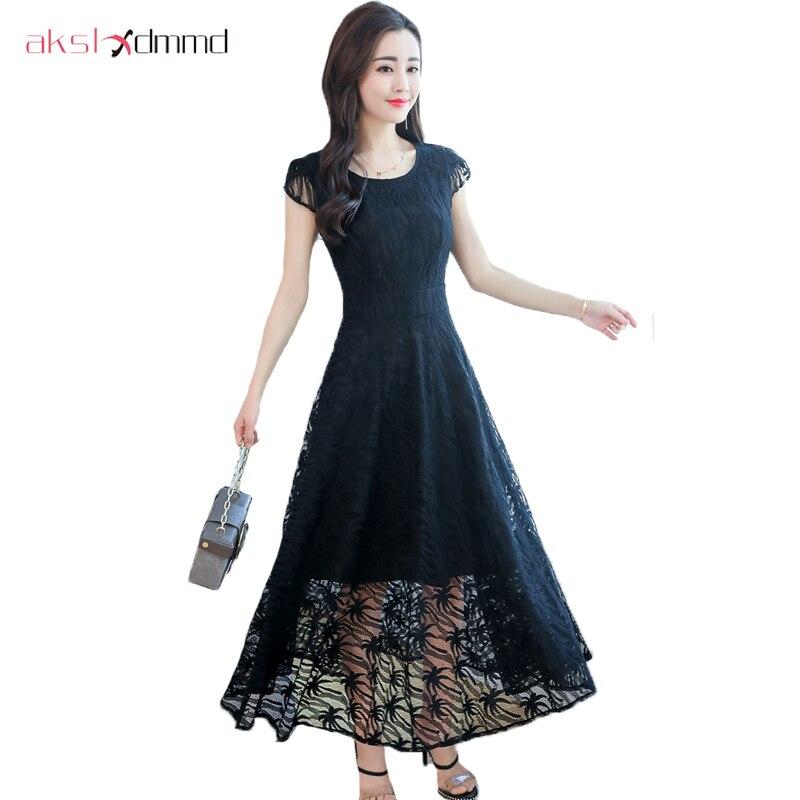 9db834ffe20 AKSLXDMMD 2019 женское летнее кружевное платье плюс размер M-3XL элегантные однотонные  узкие длинные платья