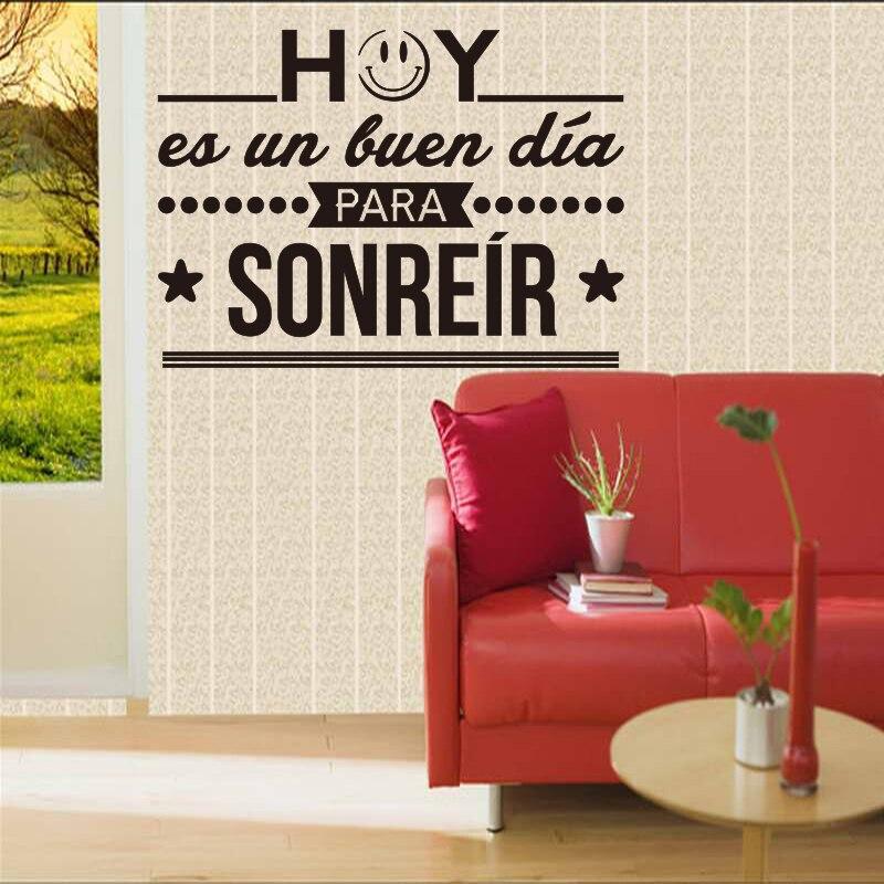 Španělské domácí a kancelářské obklady na zeď dnes je dobrý den k úsměvu odnímatelné vinylové samolepky na zeď domácí dekorace DD098