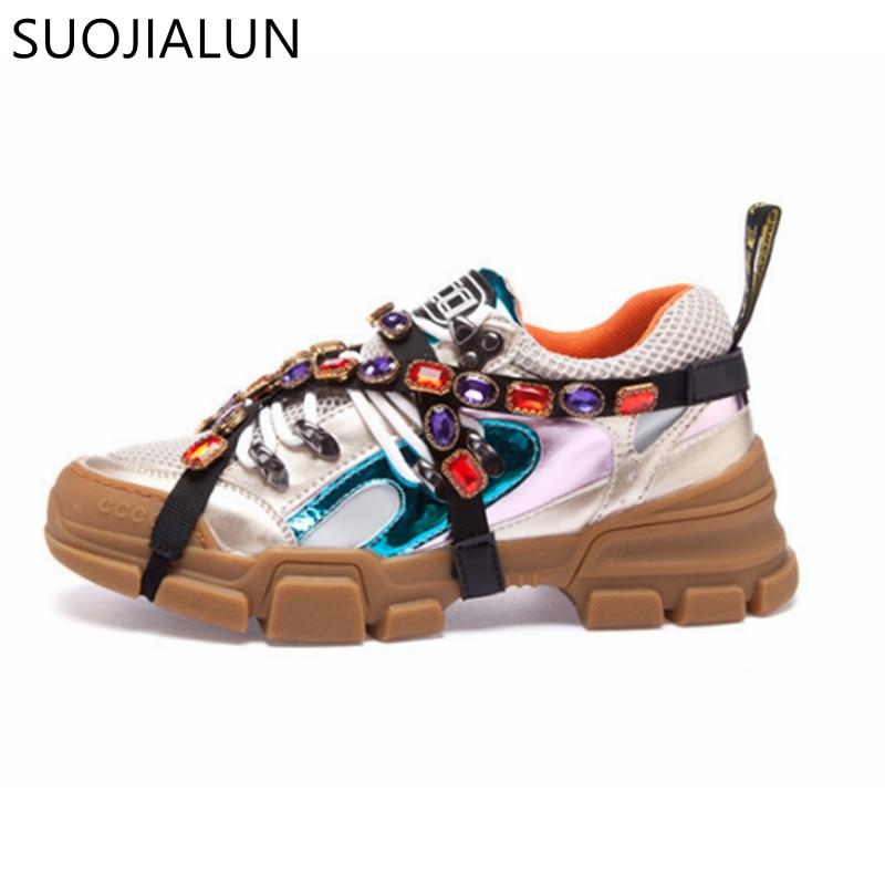 Nouvelle marque femmes baskets hiver mode cristal Plat plate-forme à lacets bout rond mocassins décontractés confortables chaussures femmes