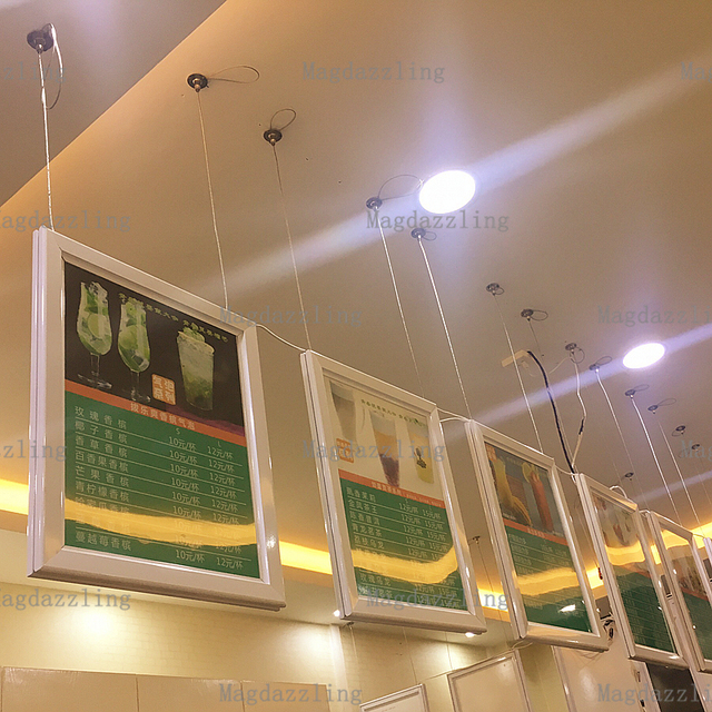 A1 Ceiling Hanging Double Sided Aluminum Snap Frame Led Edge Lit Advertising Light Box Two Sides Display Bo