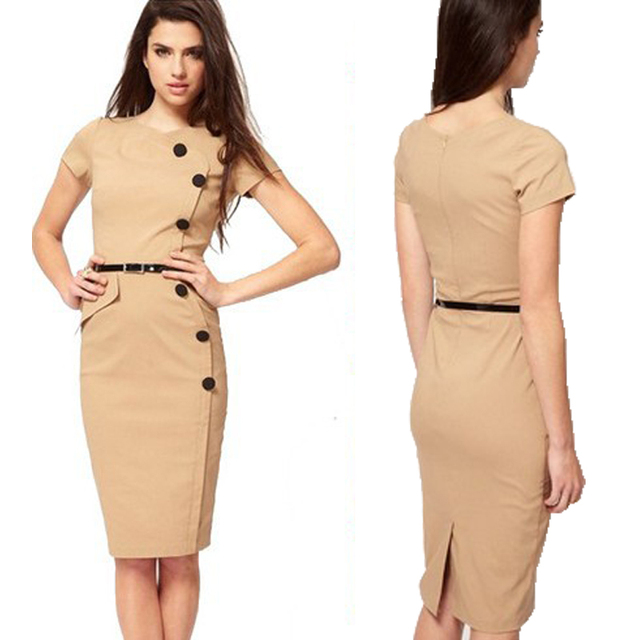 Women Office Dress Wear Side On Down Design Cotton And Polyester Fabric Made