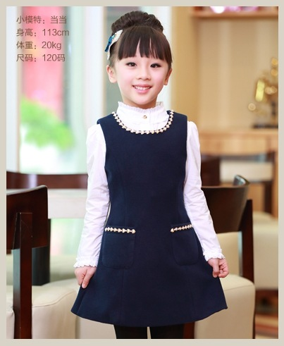 Kids Girls Autumn New Children Princess Woolen Vest Dress Dark Blue girls woolen vest dress winter autumn
