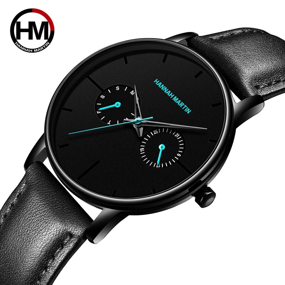 Hannah Martin Men Watch Fashion Luxury Quartz Watch Men Casual Leather Waterproof Sports Men's Watch Relogio Masculino Relojes