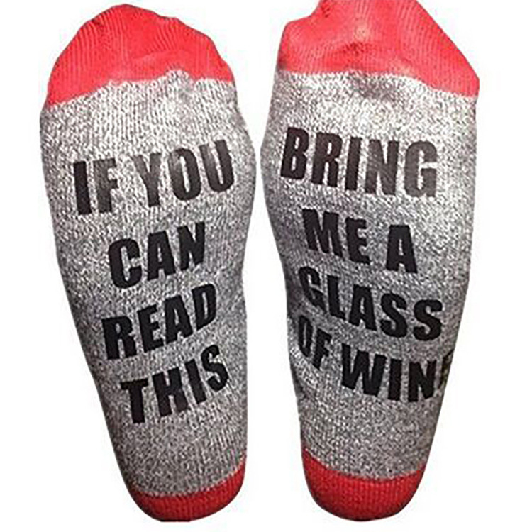 Custom wine socks If You can read this Bring Me a Glass of Wine Socks autumn spring fall 2017 new arrival ws300