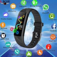 LIGE Ip67 Waterproof Smart Bracelet Sports Smart Bracelet Fitness Heart Rate Blood Oxygen Monitor Pedometer Smart Wristband+Box