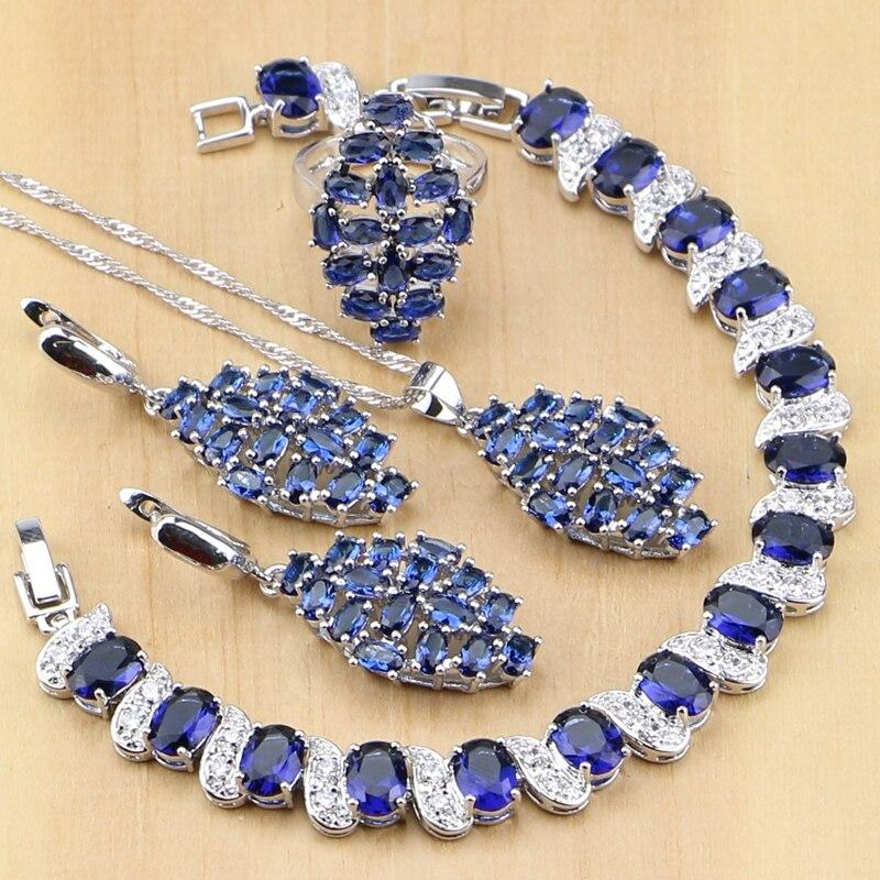 Hochzeits- & Verlobungs-schmuck Schnelle Lieferung Punk Blau Zirkonia Weiß Cz 925 Sterling Silber Schmuck Sets Für Frauen Partei Ohrringe/anhänger/halskette/ Ringe/armbänder