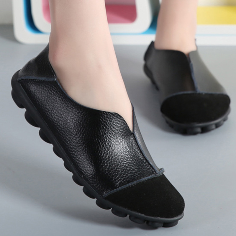 Women's Genuine leather Cow Leather Flats shoes Soft Ladies Loafers Plus size 41 43 Non slip Superstar Female shoe-in Women's Flats from Shoes