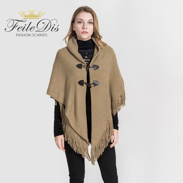 a1a434bd673c74 R$ 123.62  [FEILEDIS] 2019 de Alta qualidade mulheres cachecol moda inverno  Poncho cobertores Capa xale Grande Xale de Cashmere xale Com Capuz DP2657  ...