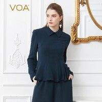 VOA Heavy Silk Office T Shirt Plus Size 5XL Women Tops Slim Tunic Pullover Solid Navy Blue Basic Formal Long Sleeve Ruffle B380