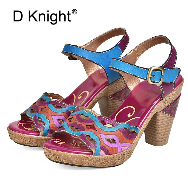 D Knight Hollow Genuine Leather High Heel Sandals Ladies Shoes Soft Hook Loop Ankle Strap Summer Shoes Elegant High Heels WomanD Knight Hollow Genuine Leather High Heel Sandals Ladies Shoes Soft Hook Loop Ankle Strap Summer Shoes Elegant High Heels Woman