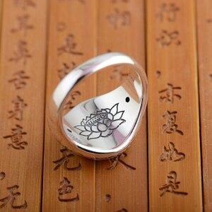 Image 3 - Balmora リアル 925 スターリングシルバー仏教レトロスピナーリング女性男性カップル 6 words マントラファッションジュエリー
