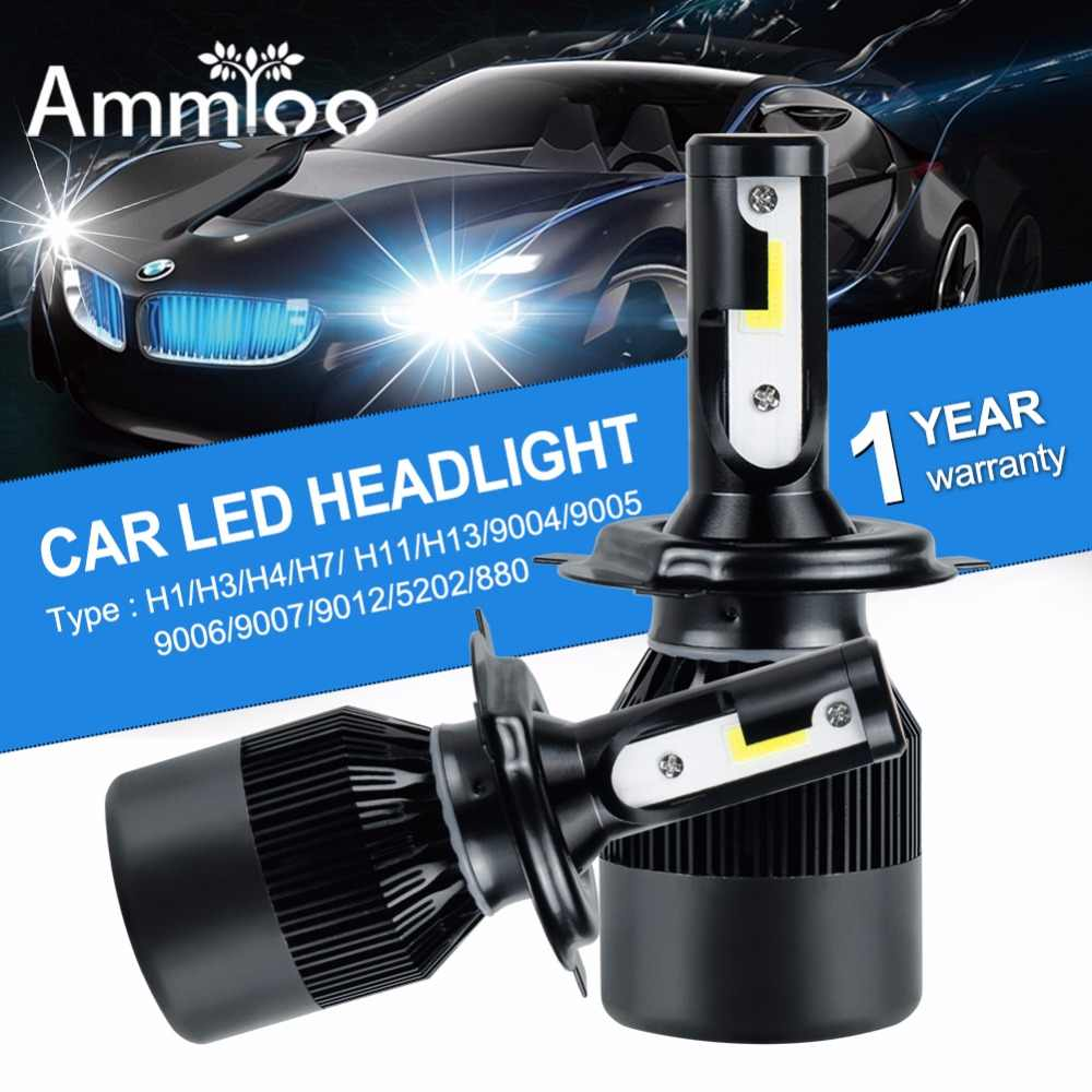 AmmToo H4 H7 Led Car Headlight 9005 9006 Fog light H3 H11 Bulb 6500K 12000Lm automobile front drl bulb Super Bright Lamp Parts