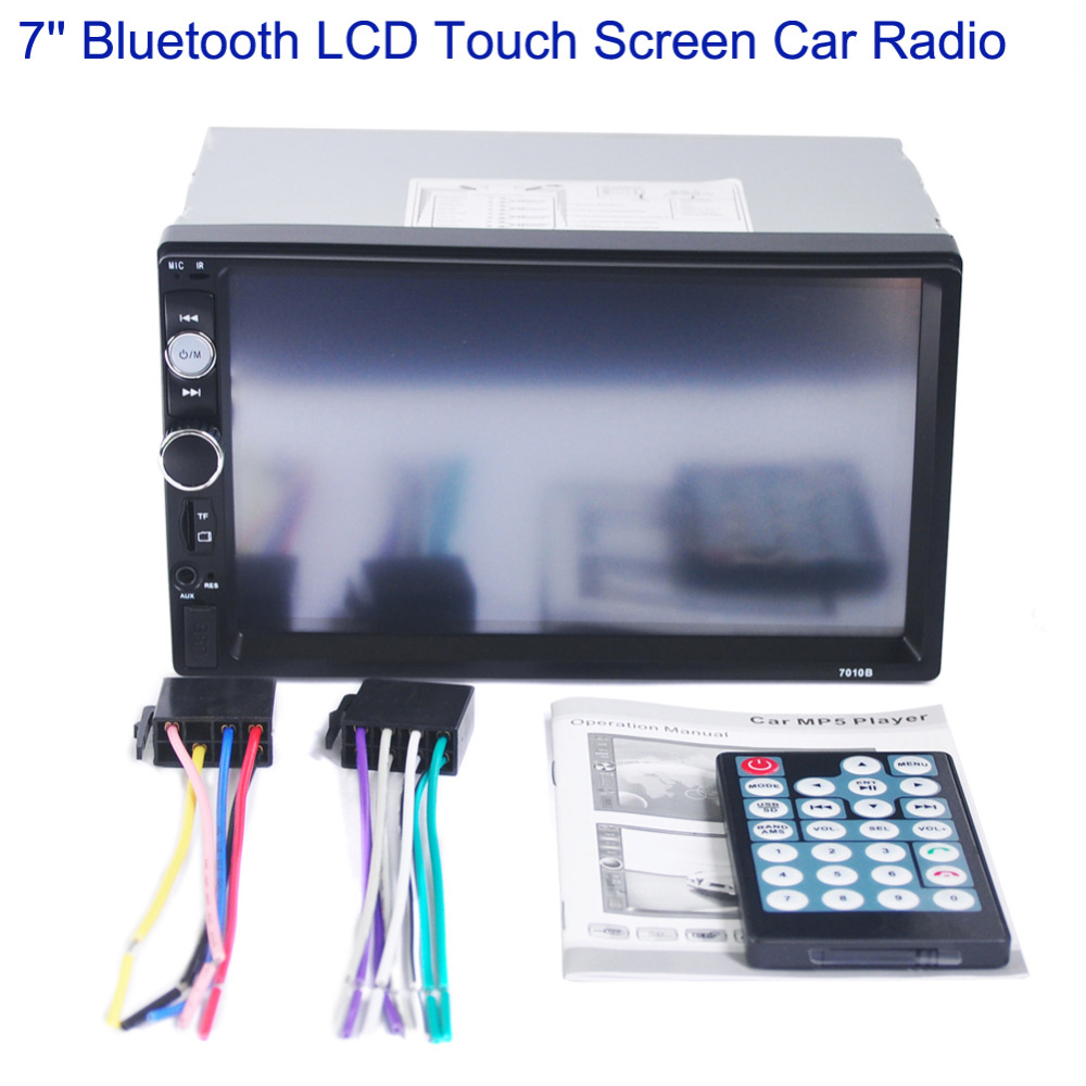 7 LCD Touch Screen Car Stereo Radio Bluetooth Handsfree 2DIN In-dash Autoradio Auto FM/USB/AUX/MP5 Player w/ Remote Controller ultra thin 7 touch screen lcd wince 6 0 gps navigator w fm internal 4gb america map light blue