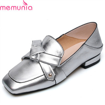 MEMUNIA 2019 new arrival sweet pumps women genuine leather summer shoes shallow bowknot square heels casual shoes woman