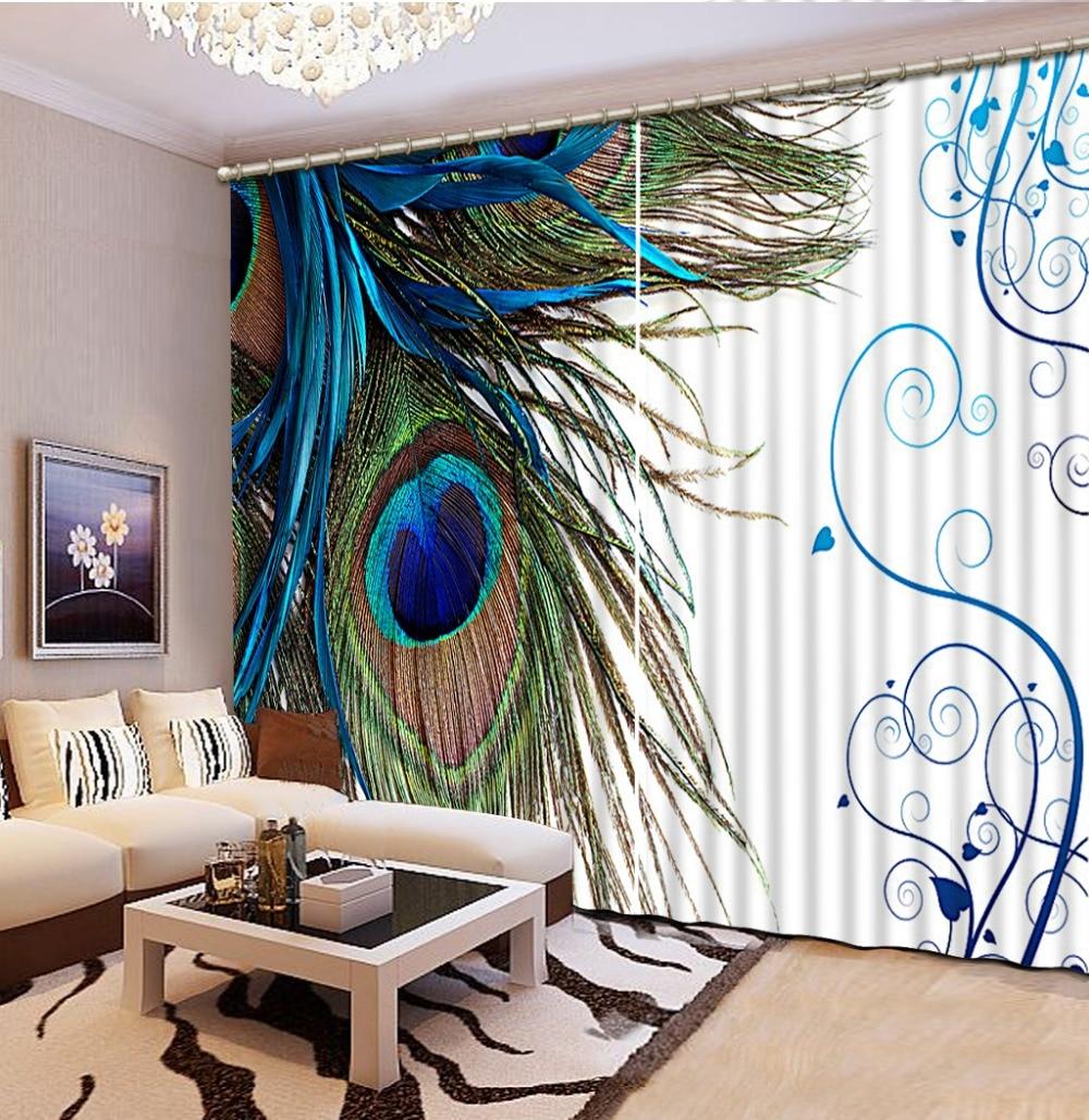 Fashion 3D Home Decor Beautiful Peacock Custom Curtain Decoration For Bedroom Living Room