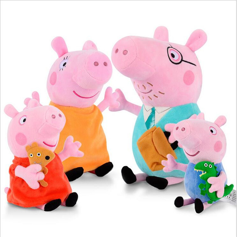 Original Fashion Peppa Pig George Dad Mom Family Animal Stuffed Doll Purse Plush Toys Children Gifts
