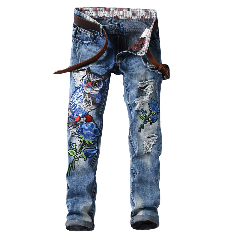 Mens Biker Jeans Summer Fashion Designer  Men Straight Printed Mens Jeans Ripped Jeans,100% Cotton Embroidered Jeans Male