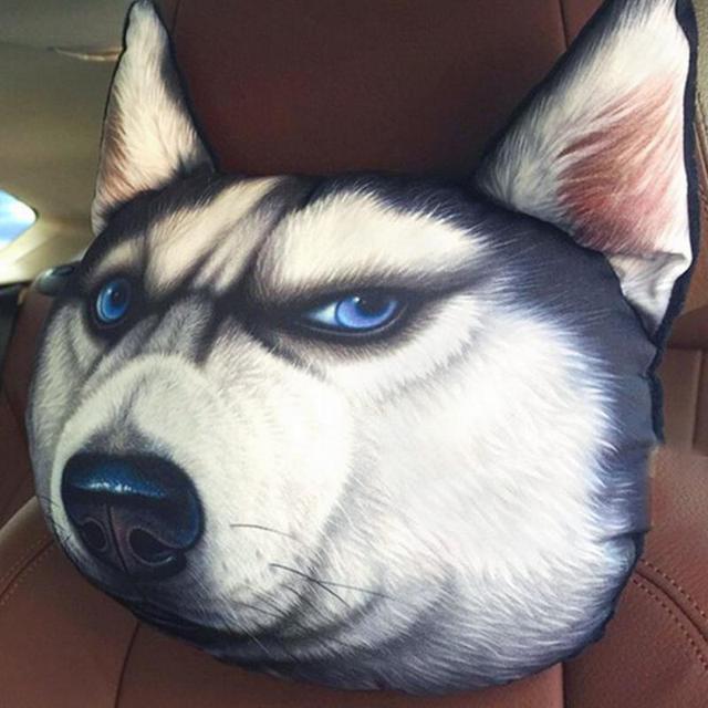 3D Dog Animal Car Seat Head Neck Rest Cushion Pillow Pad Headrest Cover Filler