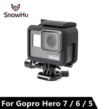 SnowHu Protective Frame Case Cover Bumper + Lens Cap For Gopro Hero 7 6 5 Housing Go Pro Sport Action Camera Accessories  LD03