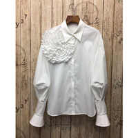 LUO SHA 2019 Women's Long Sleeve Blouse Big Flower Cotton Blouse Shirt Office Ladies Woman Shirt Blouse Blusas Mujer