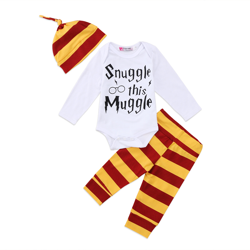 New Casual Newborn Infant Baby Girls Print Muggle Clothes Long Sleeve Romper Jumpsuit +Striped Pants Hat Outfits summer newborn baby girls clothes short sleeve romper bodysuit harem pants hat 3pcs outfits casual cute rainbow baby sets