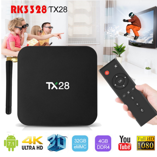4G/32G TX28 Android 7.1 TV Box 4K Rockchip RK3328 Quad Core 2.4G/5GHz Dual Wifi BT4.1 PK TX9 Pro TX2 R2 Smart TV Box картридж cactus ce285a cs ce285as