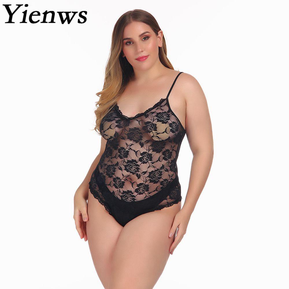 7ae34fd97 Yienws 4XL Plus Size Jumpsuit Women 2019 Black Bodysuit Sexy Lace Spaghetti  Strap Jumpsuit Large Size